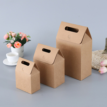 MissYe Store  10pcs/lot foldable brown craft paper packaging box with hand for wedding gift chocolate