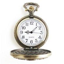 GENBOLI 1PC Vintage Antique Round Dial Quartz Pocket Watch Santa Claus Letter Necklace Pendant Clock For Mens Womens Best Gifts