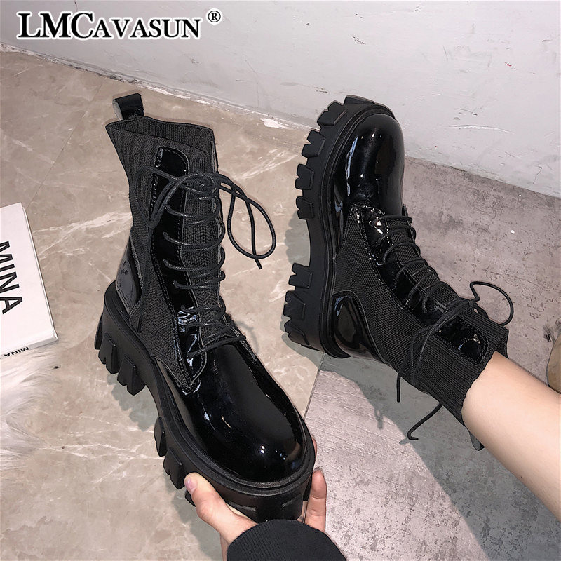 LMCAVASUN Fashion Leather Martins Boots For Woman Winter Warm Lace-up Ankle Boots Woman Shoes Solid Waterproof Chelsea Boots