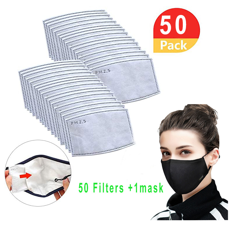 10/20/30/40/50pcs/PM2.5 Filter Paper Anti Haze Mouth Mask For Women/Men Anti Dust Mask Activated Carbon Filter Paper Replacement