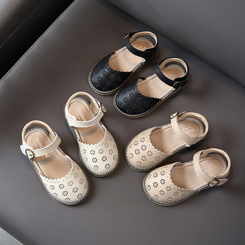 Niñas Inglaterra princesa zapatos 2020 Primavera Verano nuevo estilo Wrap Toes Sandalias Zapatos pequeños de cuero estudiante/zapatos para niños