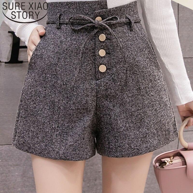 High Waist Shorts New 2019 Fashion Women Autumn Winter Short Pants Casual Grey Black Khaki Women Shorts Wide Leg 6301 50