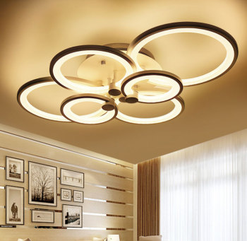 цена Post-Modern Lamp Ceiling Light 4/6/8/10 Circles Golden Modern Loft Led Acrylic Circles designs be dimmable lamp for living room онлайн в 2017 году