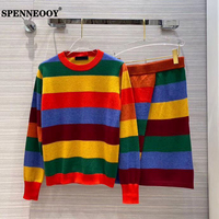 SPENNEOOY Designer Runway Autumn Women Sweet Multicolor Cashmere Knitting Skirt Two Pieces Set Long Sleeve Top + Skirts Suits