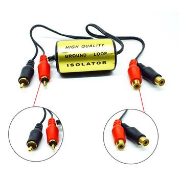 Kobiecy męski uziemienie anty-szumowe izolator pętli uziemienia RCA filtr szumów samochodowy sprzęt audio tanie i dobre opinie 35x 65mm Ground Loop Isolator Anti-noise Plastic Metal 12 v