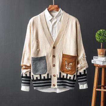 Sweter męski retro kontrastowy sweter z dekoltem w serek sweter dziergany męski trend przystojny zepsuty otwór sweter męski sweter top tanie i dobre opinie CN (pochodzenie) Pojedyncze piersi Standardowy wełny Men s cardigan sweater Poliester CASHMERE COTTON Stałe V-neck Na co dzień