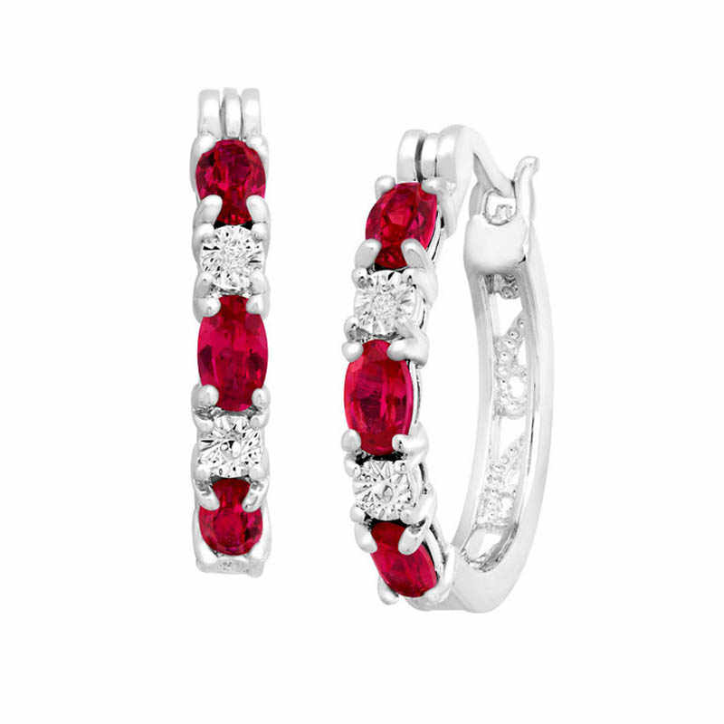 Cellacity delikatny okrągły srebrny 925 biżuteria kamienie szlachetne kolczyki dla kobiet w owalnym kształcie Ruby kolczyki w kształcie kropelek randki kobiet prezent hurtownie