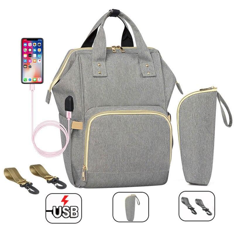 Mummy Maternity Nappy Bag Waterproof Diaper Bag With USB Stroller Travel Backpack For Mom Multi-pocket Nursing Bag For Baby Care