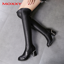 купить 2019 Sexy High Heels Winter Boots Thigh High Boots Platform Women Over the Knee Boots Leather Black Long Boots Fur Shoes Woman по цене 1345.61 рублей