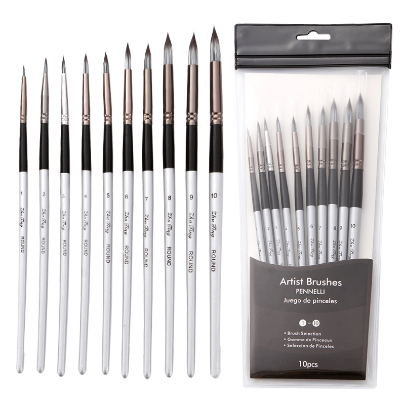 10Pcs Nylon Watercolor Painting Brush Professional High Quality Grey Rod Paint Brushes Set  For Students Stationery Art Supplies