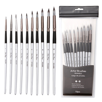 10Pcs Nylon Watercolor Painting Brush Professional High Quality Grey Rod Paint Brushes Set  For Students Stationery Art Supplies - discount item  30% OFF Art Supplies