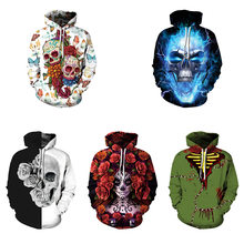 5 Colour Unisex S-5XL New Skull Hooded 3D Graphic Print Men Womens Hoodie Sweatshirts Jacket Coat(China)