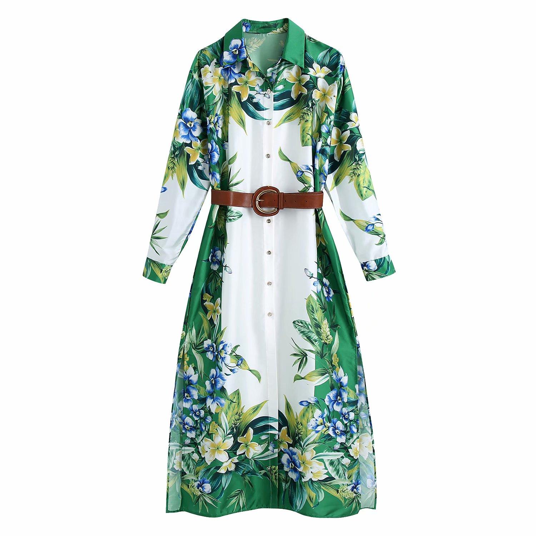 Vestido largo elegante de manga larga para mujer, vestido elegante con cinturón y estampado de flores, 2021