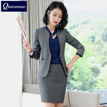 Autumn and winter V neck women s jacket long sleeved professional women s pants suit interview sales work clothes