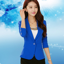 Women Blazer Rose Casual-Suit Spring Female Office Lady Blue Fashion High-Quality Autumn