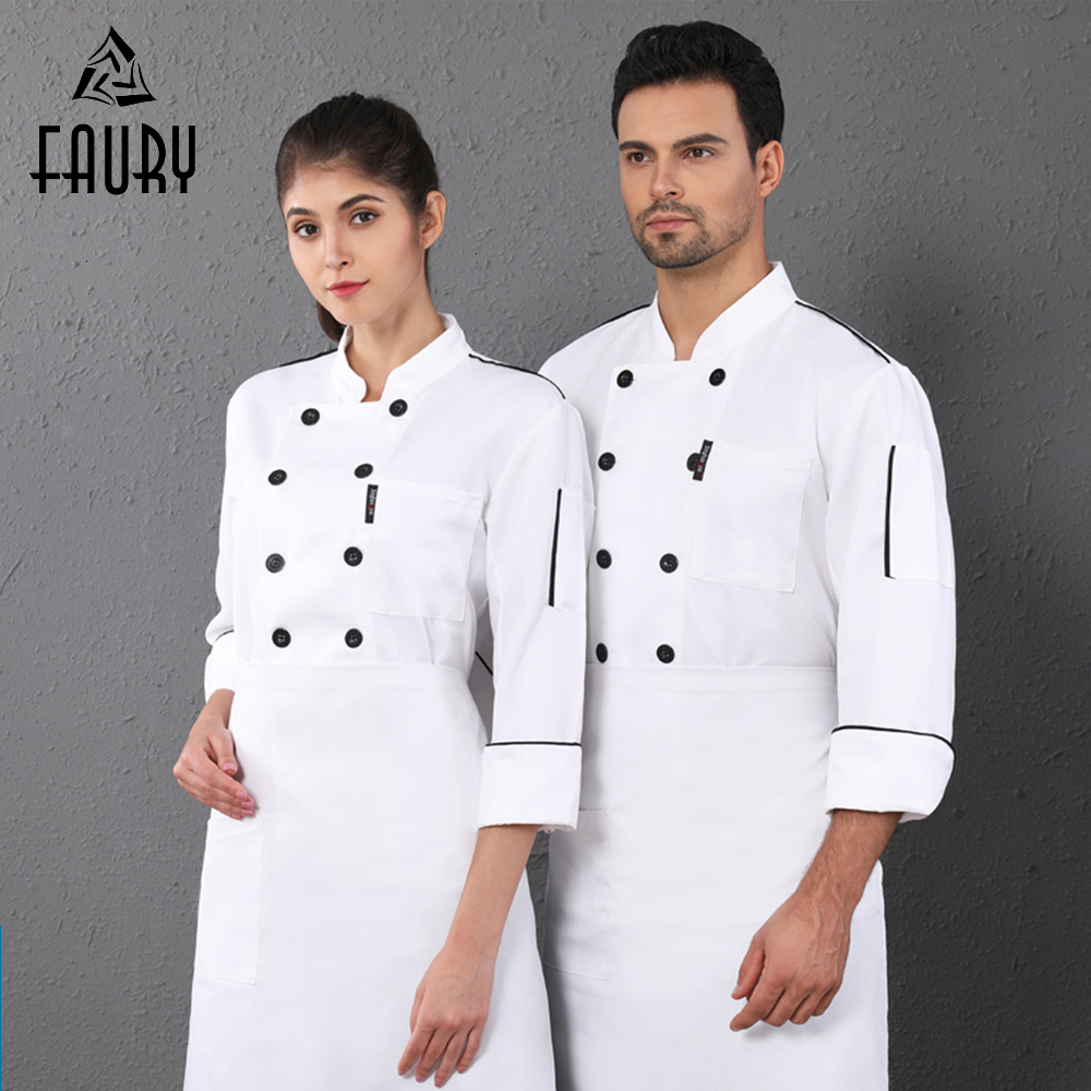 Chef Jacket Unisex Double-breasted Long-sleeved Kitchen Uniform Restaurant Hotel Work Shirt Cook Coat Bakery Pastry Work Wear