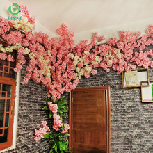 Cherry blossom tree 1Pcs Artificial Flowers 120cm Silk High simulation Wedding decoration home Decor Factory Direct Selling