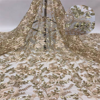 Gold Hot Sale Nigerian Sequins Laces Fabrics 2020 High Quality African Lace Fabric for Wedding French Net tulle Lace Fabric
