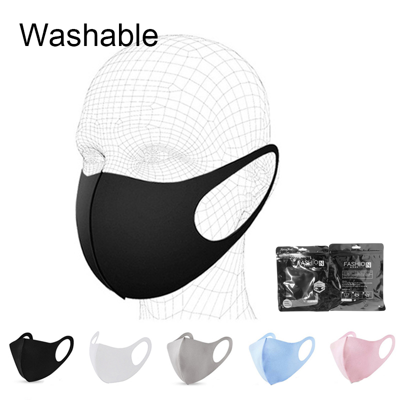 5/10/20/50pcs Reusable Face Mask Washable Fabric Masks Elastic White Black Gray Sponge Anti Pollution Dust Adult Facemask Cover