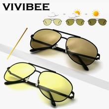 VIVIBEE Для мужчин фотохромные Ночное видение поляризационные солнцезащитные очки пилота Стиль Алюминий Для женщин Поляризованные Вождения Солнцезащитные очки желтые