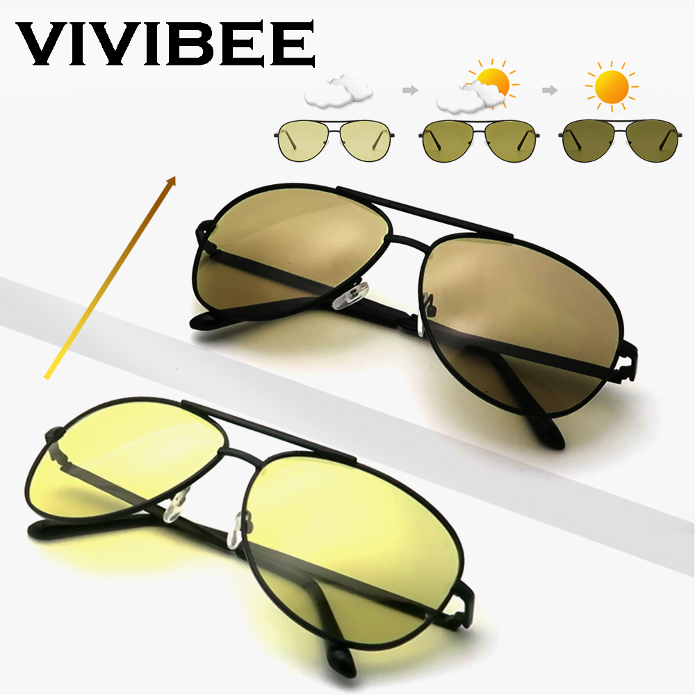 VIVIBEE Color Change Sunglasses Men Pilot Driving Photochromic Yellow Polarized Women Sun Glasses Aviation Day And Night Vision