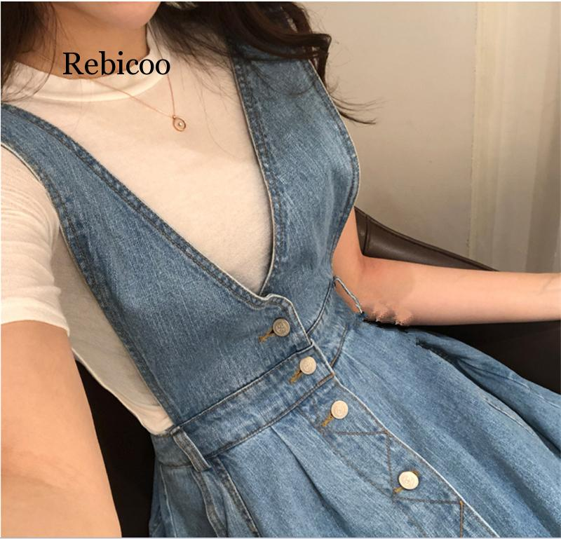 Rebicoo Women Denim Dress  Fashion Single Breasted Spaghetti Strap Jean Dress Women Tunic Big Hem Backless Dress Vestidos