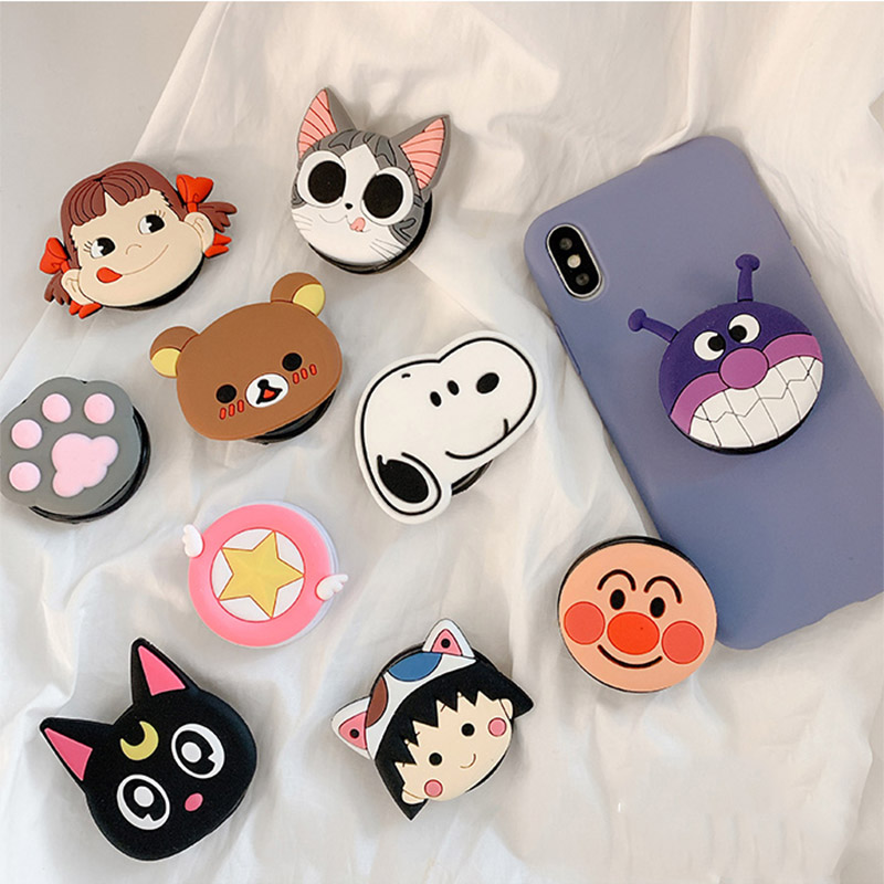 Cute Cartoon Folding Stand For Mobile Phone Holder For IPhone X 7 Plus For Samsung For Huawei Phone Case Funny Finger Ring Grip