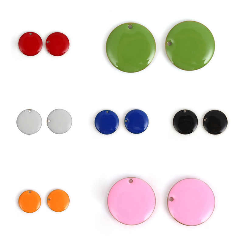 "DoreenBeads Fashion Tembaga Enamel Payet Liontin Bulat Unplated Colorful Enamel Perhiasan DIY 20Mm (6/8 "") dia 5 Buah"