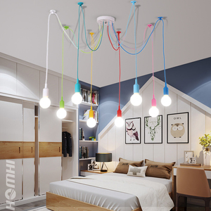 Image 4 - נברשת משתלת תקרת נורדי ילד של דקו צבע e27 מודרני תליון תקרת מנורות סיליקון led נברשת עכביש סלון