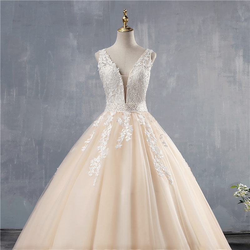 ZJ9149 2019 2020 White Ivory Pink Champagne Wedding Dress Custom-made Plus Size Bridal Deep V neck Open Back
