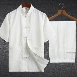 Традиционный китайский комплект одежды для мужчин, восточные 2 предмета, Тай Чи, кунг-фу, Униформа с коротким рукавом, льняные повседневные к...