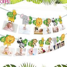 QIFU 1st День Рождения украшения Детские сувениры первый день рождения баннер флаг один год овсянка гирлянда Baby Shower декор для мальчиков и девочек