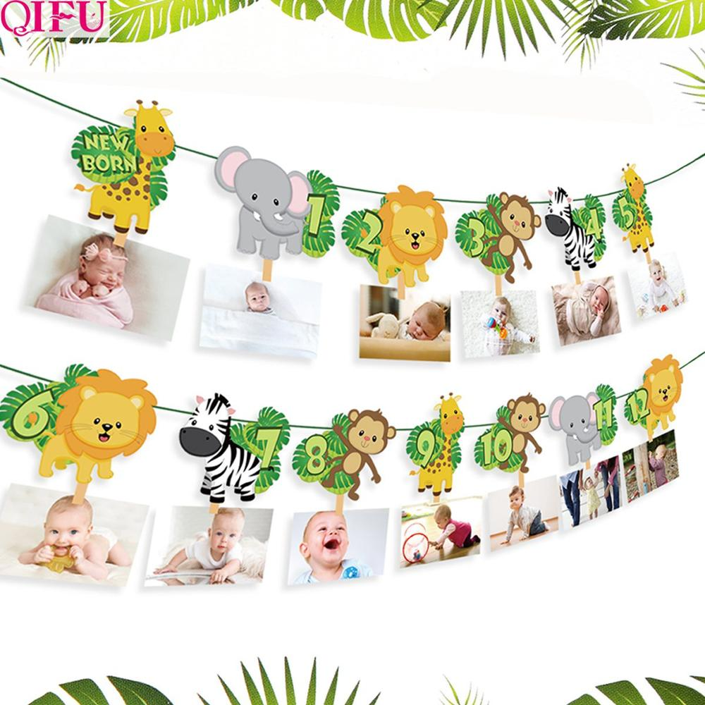 QIFU украшения для 1-го дня рождения, Детские сувениры, баннер на первый день рождения, флаг, флажки на один год, гирлянда для украшения детског...