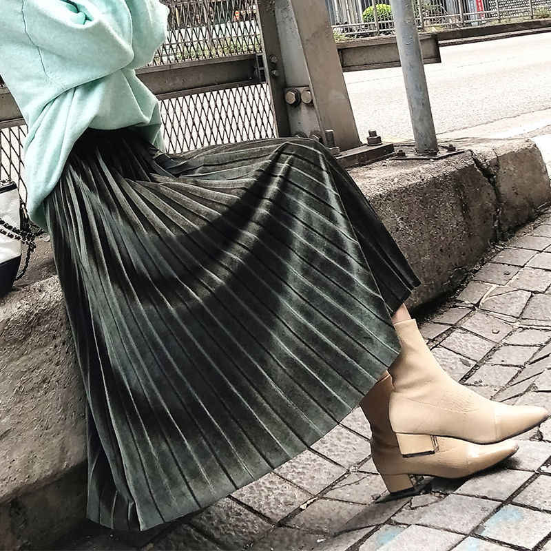 Emas Beludru Rok 2020 Musim Semi Musim Gugur Baru Rok Lipit Tinggi Pinggang Slim Pendulum Rok Harajuku Wanita Women A-line Setengah-betis rok 3XL