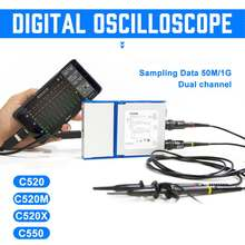 Virtuele Digitale Handheld Oscilloscoop kan sluit Android & PC 2 Kanaal Bandbreedte 20 Mhz/50 Mhz Sampling Data 50 m/1G(China)