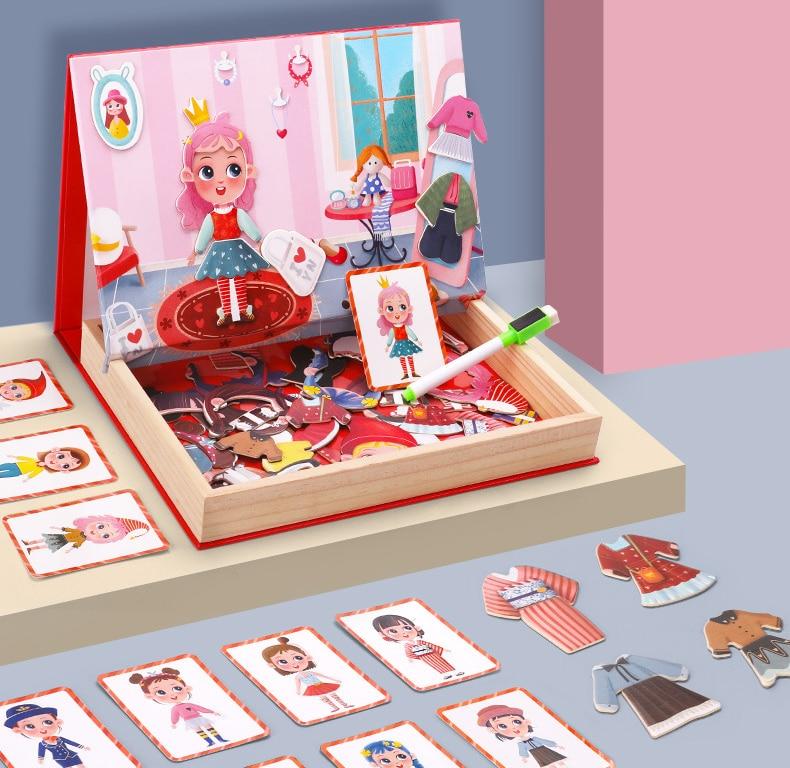 Crianças Brinquedo De Madeira Puzzle Educacional Multi-funcional Magnética Double-sided Menina Dos Desenhos Animados Vestido Up Puzzle Brinquedo Placa Branca