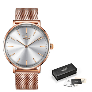 Image 5 - LIGE ผู้หญิงนาฬิกาผู้หญิง 2020 แฟชั่นสุภาพสตรีนาฬิกาข้อมือ Casual Grid สายคล้องเหล็ก Ultra บางนาฬิกาควอตซ์ผู้หญิง Relogio Feminino