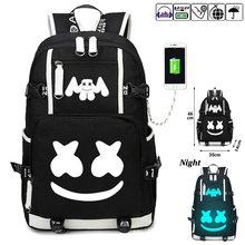 Marshmallow Luminous  backpack multifunction USB charging for teenagers Men womens Student School Bags Canvas Waterproof Bag