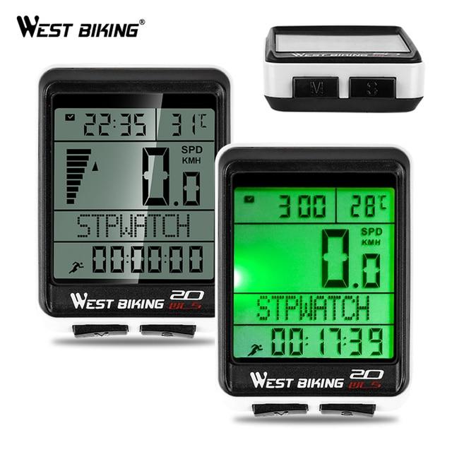 WEST BIKING Waterproof 5 Language Bicycle Computer Wireless Cycling Odometer MTB Bike Stopwatch Watch LED Screen Speedometer