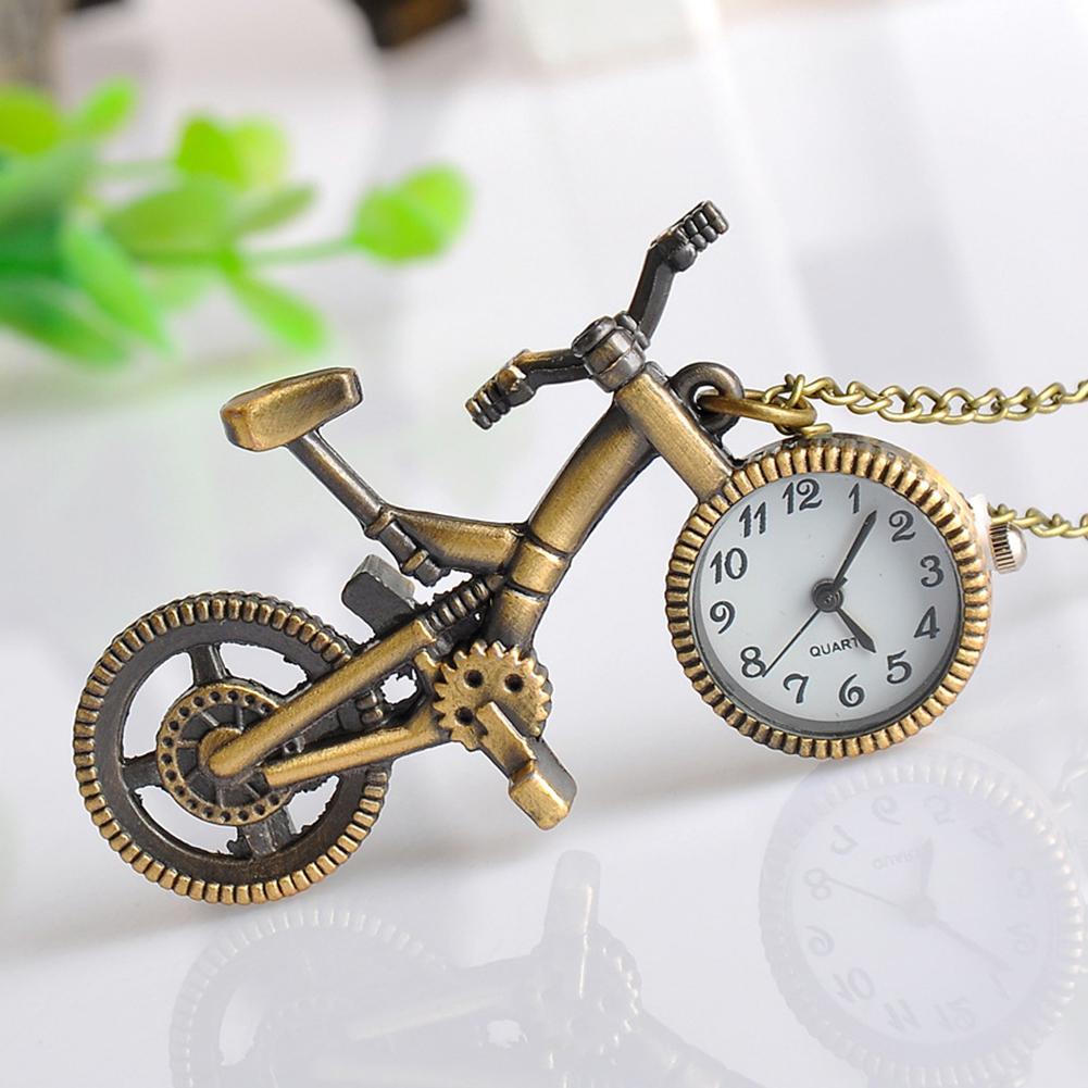 Unisex Bicycle Pendant Necklace Quartz Pocket Watch Keychain Key Ring Holder