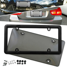 1 Set High Quality Car License Plate Frame 12*6 inch Tinted Smoked Tag Shield Cover with Screws Accessories