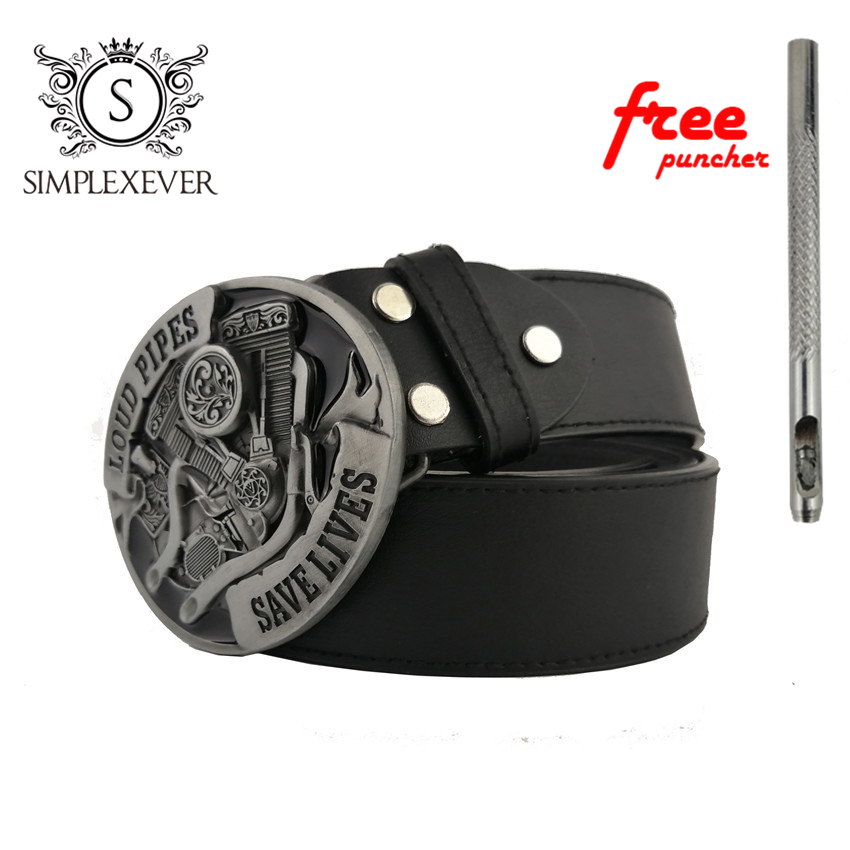 Loud Pipes Save Lives Motorcycle Engine Metal Belt Buckle, Silver Oval Belt Buckle With PU Belt For Men Dropshipping