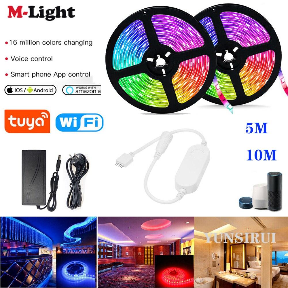 5 м 10 м RGB RGBWW светодиодные полосы светильник Tuya Smart Life APP Wi-Fi контроллер 12V 5050 60led/M гибкие светодиодные полосы работать с Alexa Google