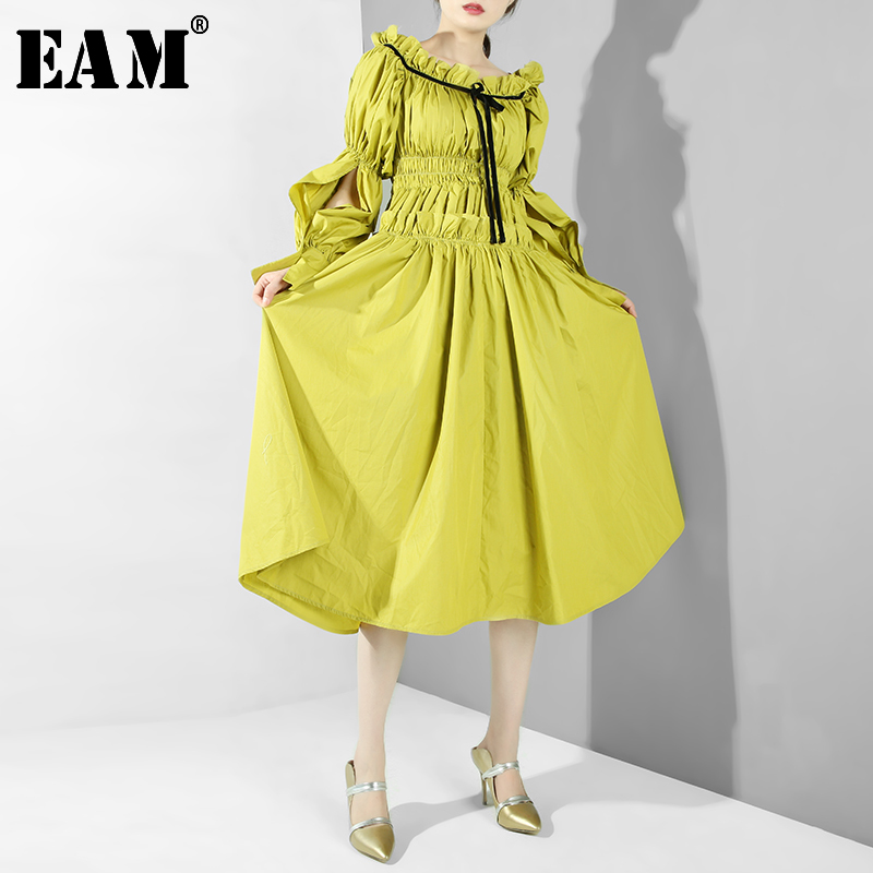 [EAM] Women Ruffles Plewated Temperament Dress New Round Neck Long Sleeve Loose Fit Fashion Tide Spring Summer 2020 JS59108