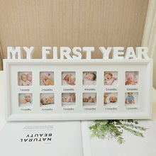 12 Months Display Picture Infant Moments Desktop PVC Show Girls Boys Ornaments Home Decor Newborn Baby My First Year Photo Frame