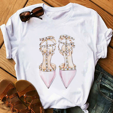 Pink High Heel T Shirt Lady Luxury Make Up Paris Style T-Shirt Women Summer Short sleeve To