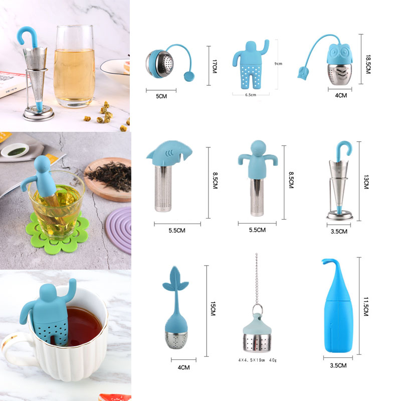 Portable Tea Infuser 9 Styles Blue Creative Safe and Healthy Kitchen Accessories Umbrella Stainless Steel Tea Filter Tea Leak