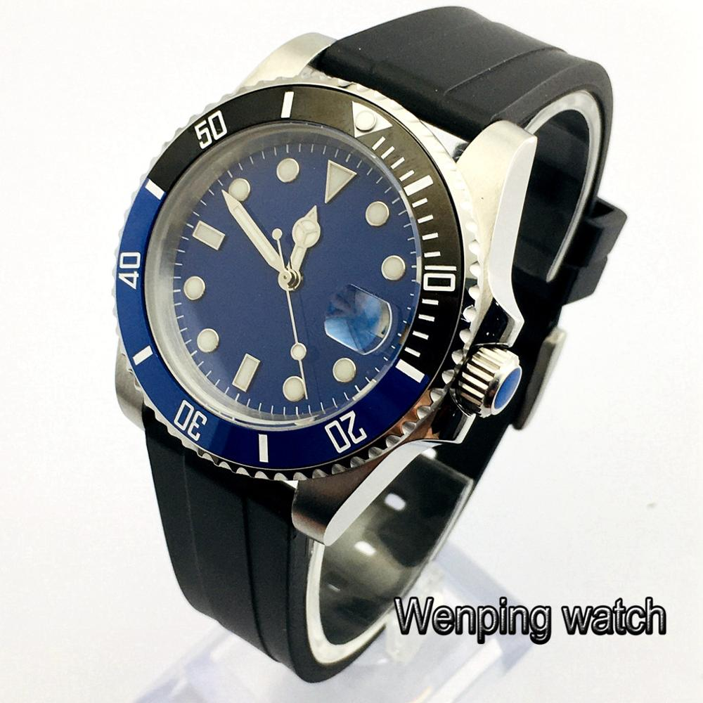 40mm sapphire glass ceramic bezel blue sterile dial date window automatic rubber strap mens top business watch