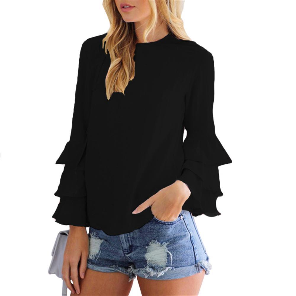 2019 Autumn women folding sleeve thin chiffon shirt casual commuter women's blouse O-Neck solid color chiffon shirt