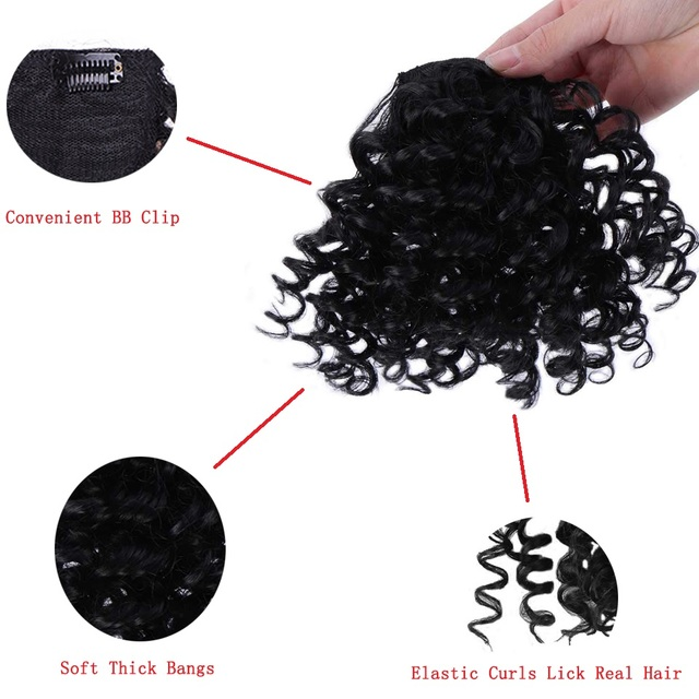 SHANGKE Synthetic Short Afro Kinky Curly Bangs Hair Extension Clip In Hairpiece For Black Women Heat Resistant Fake Hair Brown